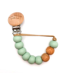 Silicone + Wood Pacifier Clip - Smokey Mint