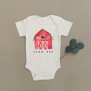 Farm Boy Red Barn Organic Baby Onesie®