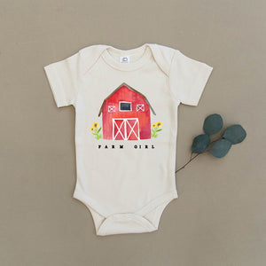 Farm Girl Red Barn Organic Baby Onesie®