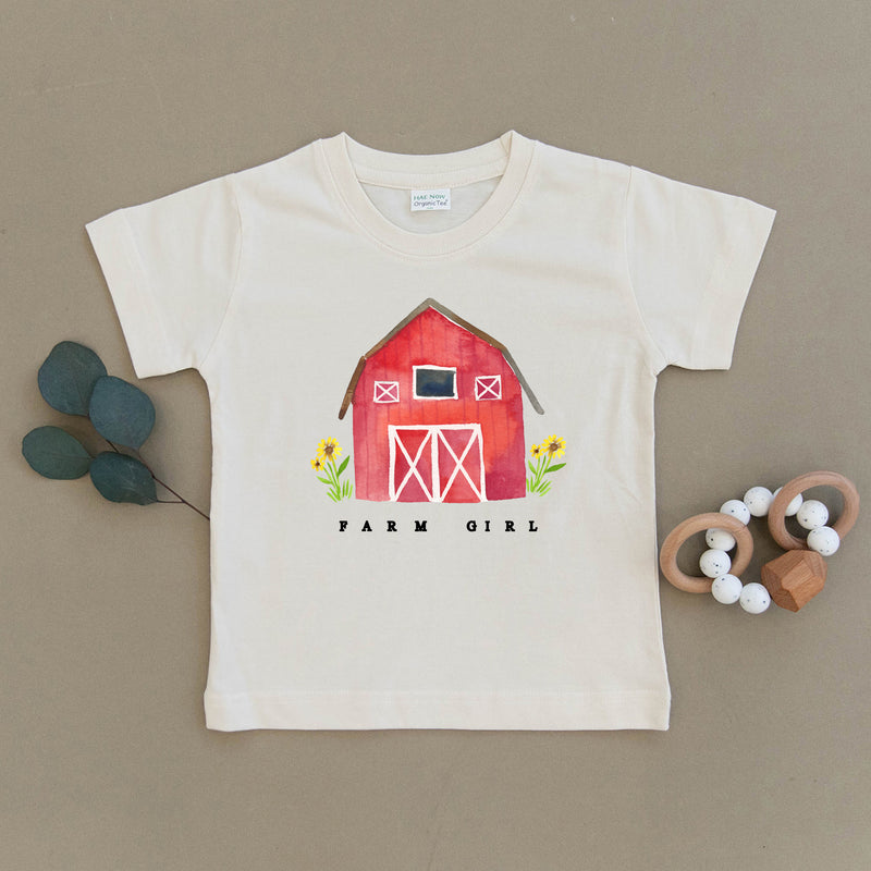 Farm Girl Red Barn Organic Toddler Tee