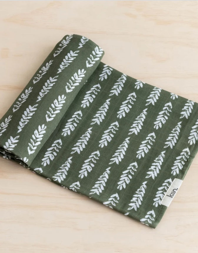 Organic Cotton & Bamboo Baby Swaddle - Forest