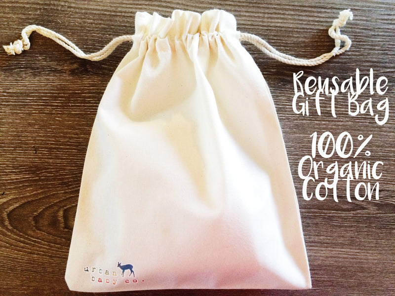 Organic Cotton Reusable Drawstring Gift Bag