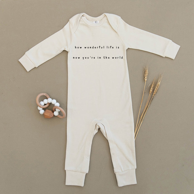 How Wonderful Life Is Now You're In The World Organic Baby Playsuit