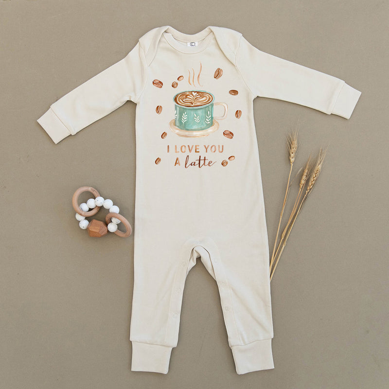 I Love You A Latte Coffee Organic Baby Playsuit