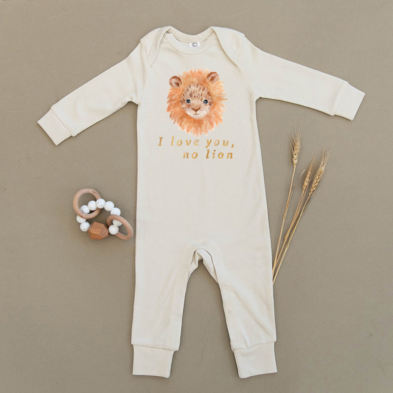 I Love You No Lion Organic Baby Playsuit