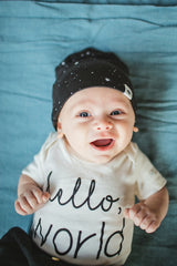 Hello World Black Organic Baby Onesie®