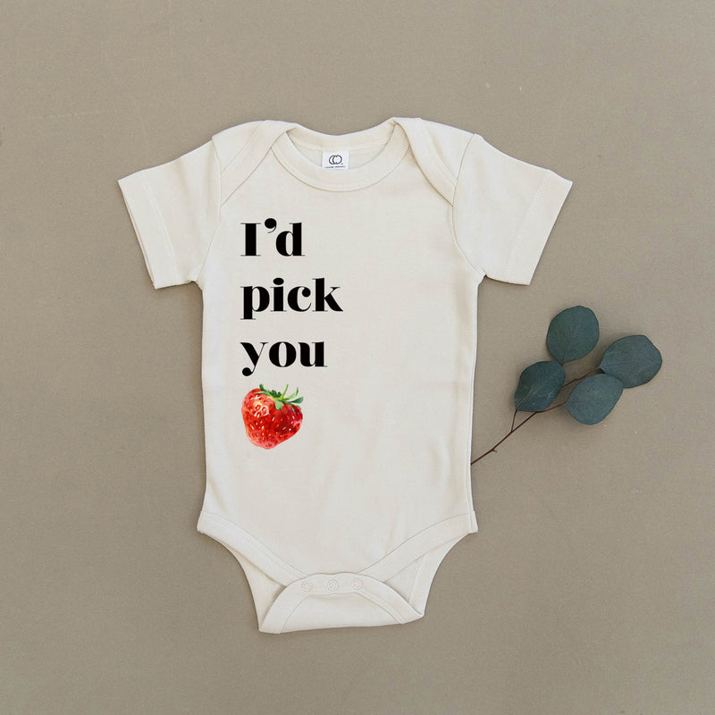 I'd Pick You Strawberry Organic Baby Onesie®