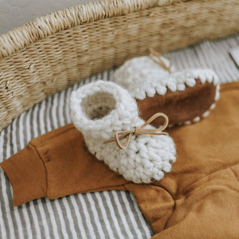 Hand Knit Baby Booties - Cream