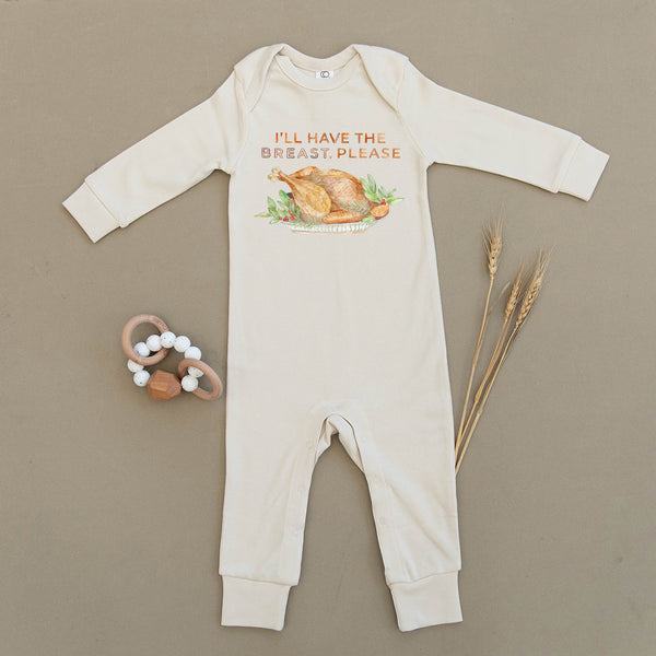 I'll Have The Breast Please Thanksgiving Turkey Organic Baby Playsuit