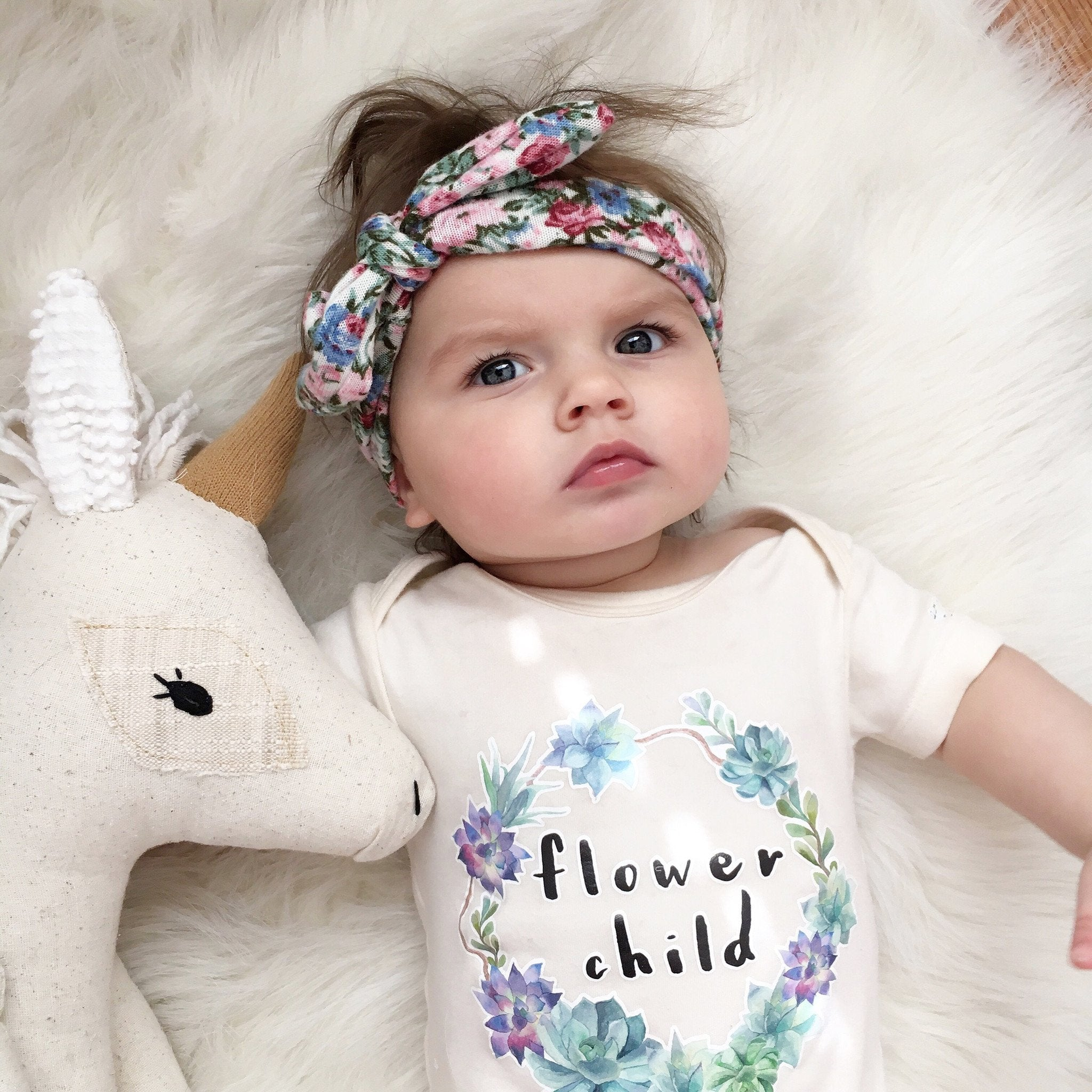 Flower Child Boho Hippie Floral Baby Girl Infant