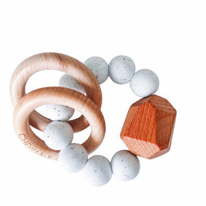 Hayes Silicone + Wood Teether Toy - Moonstone