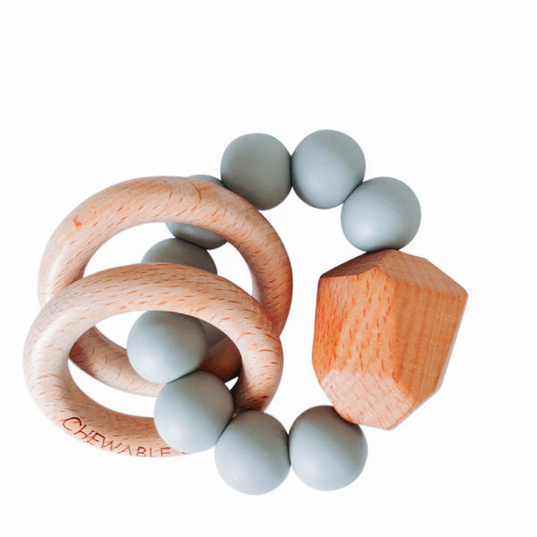 Hayes Silicone + Wood Teether Toy - Grey