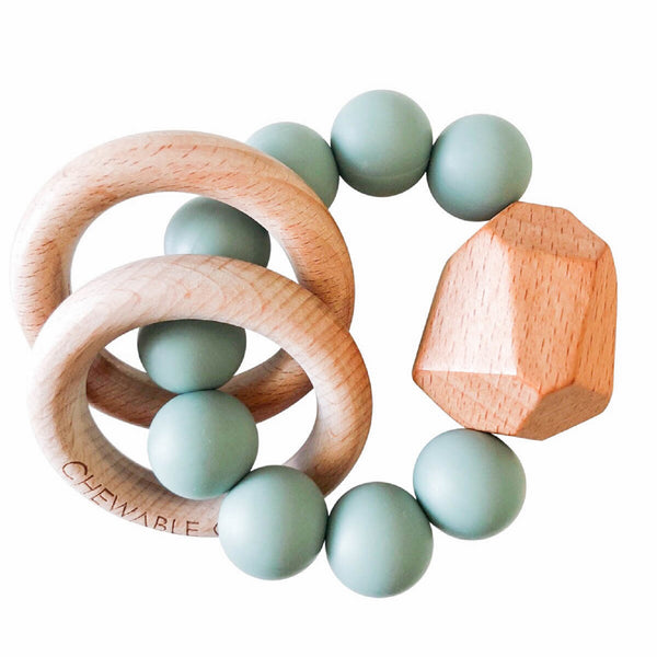 Hayes Silicone + Wood Teether Toy - Succulent