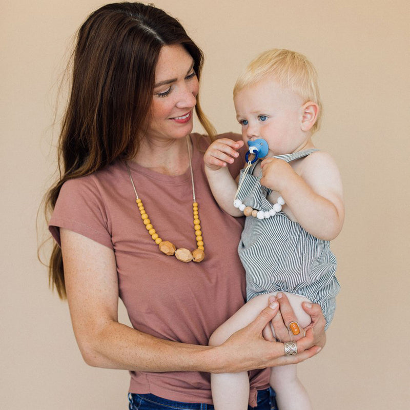Silicone + Wood Pacifier Clip - Moonstone