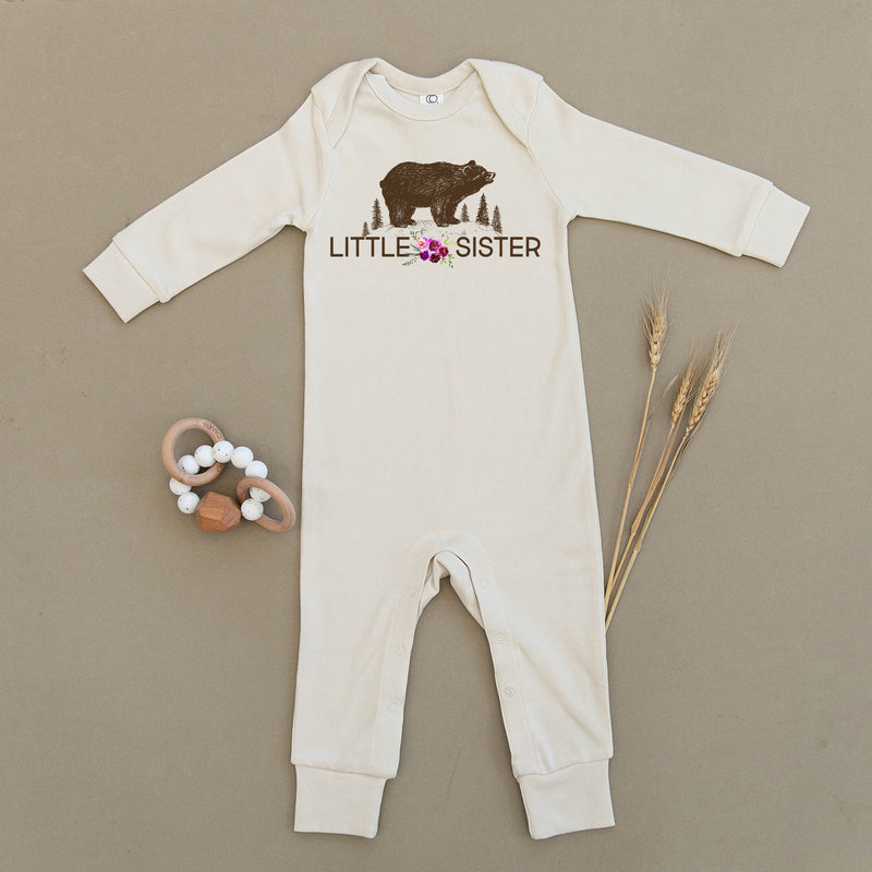 Little Sister Floral Bear Organic Baby Playsuit