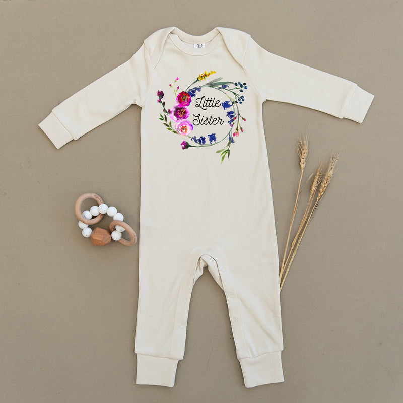Little Sister Floral Wreath Organic Baby Playsuit