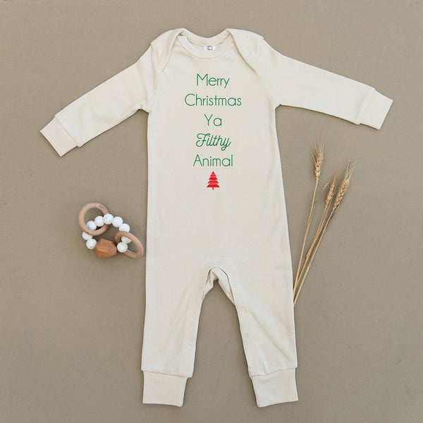 Merry Christmas Ya Filthy Animal Organic Baby Playsuit