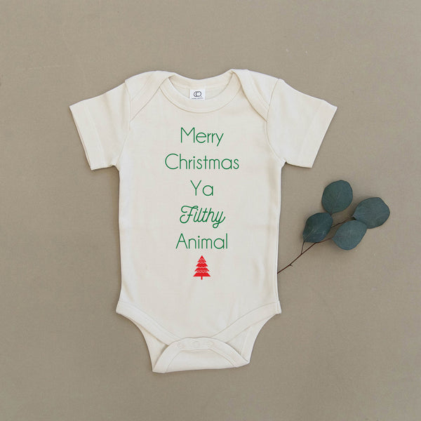 Merry Christmas Ya Filthy Animal Organic Baby Onesie®