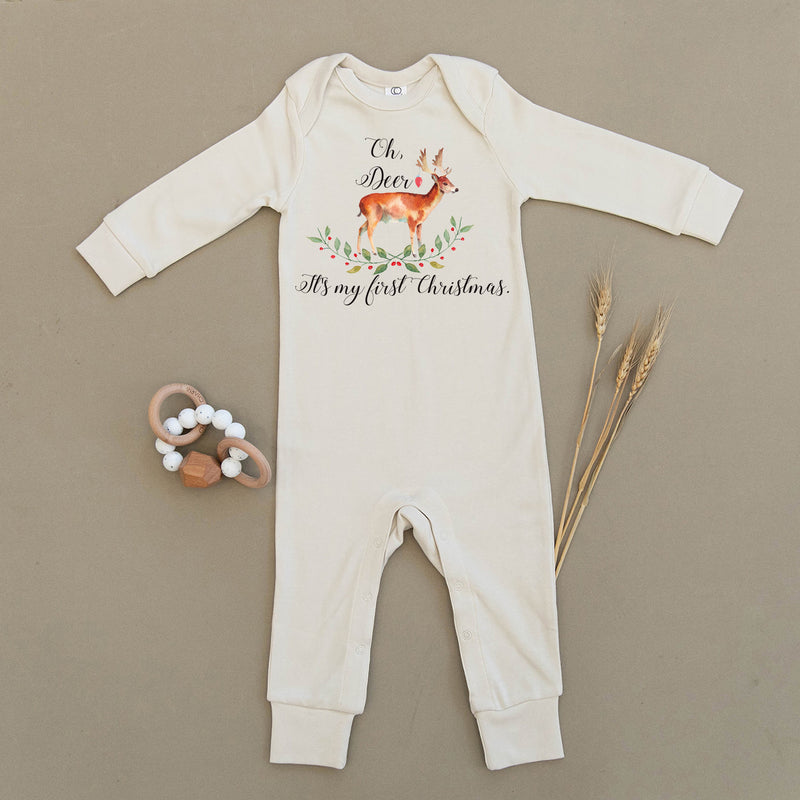Oh Deer, It's My First Christmas Organic Baby Playsuit