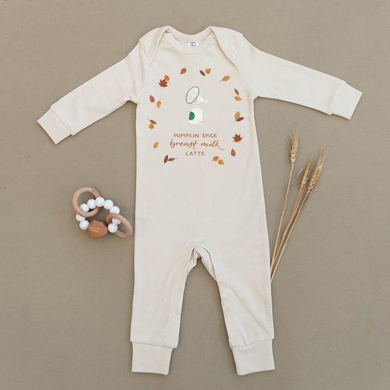 Pumpkin Spice Breast Milk Latte Organic Baby Playsuit