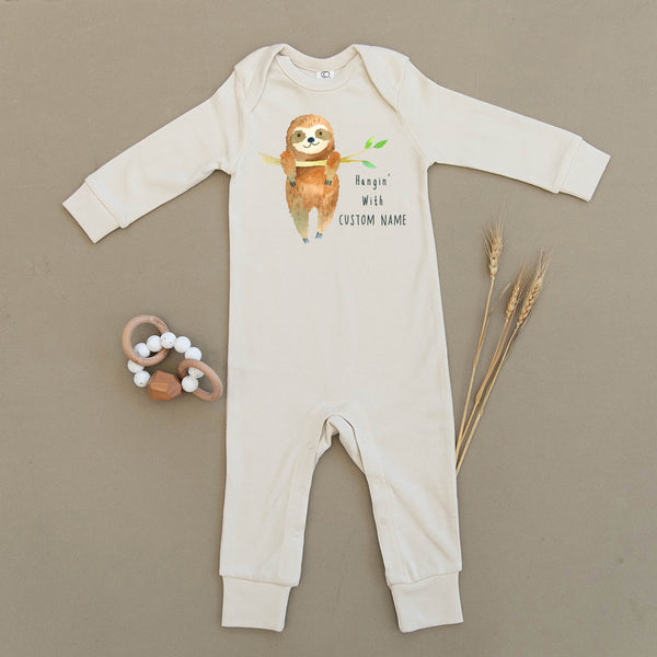 Custom Name Sloth Organic Baby Playsuit