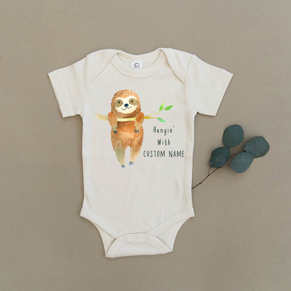 Custom Name Sloth Organic Baby Onesie®