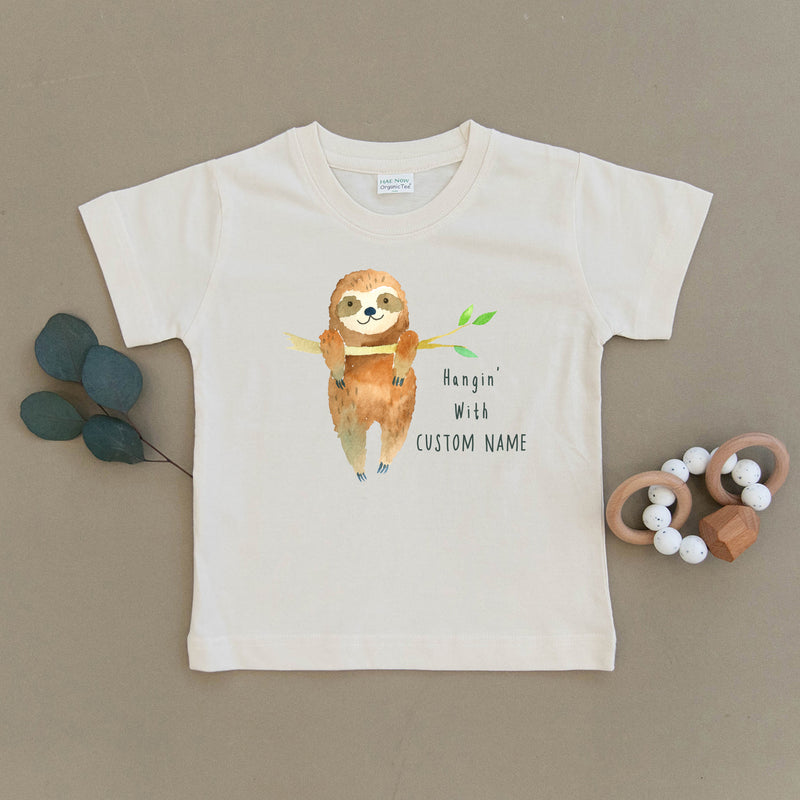 Custom Name Sloth Organic Toddler Tee