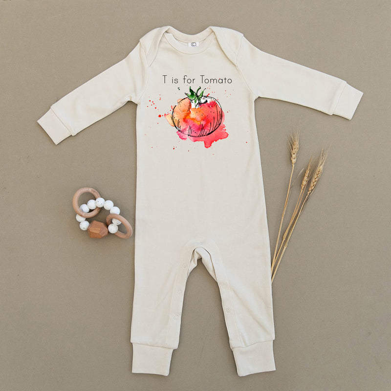 T is for Tomato Organic Baby Playsuit