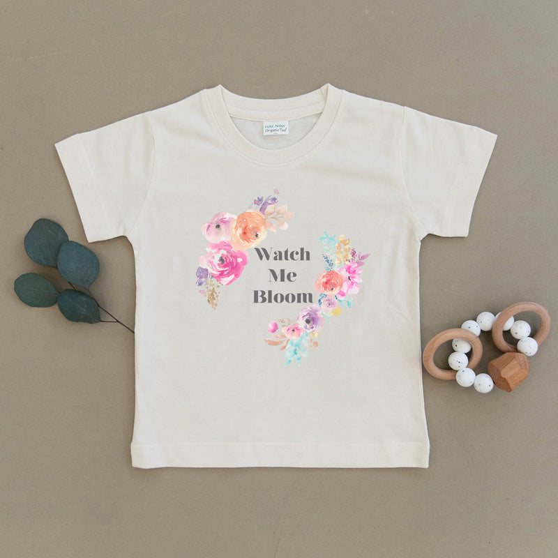 Watch Me Bloom Floral Organic Toddler Tee