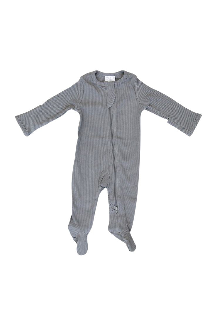 Organic Footed Zipper One Piece - Grey