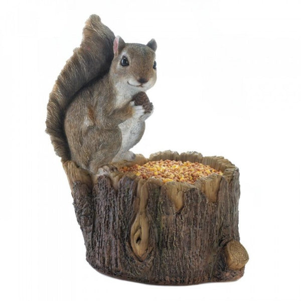 Squirrel Tree Trunk Statue Feeder