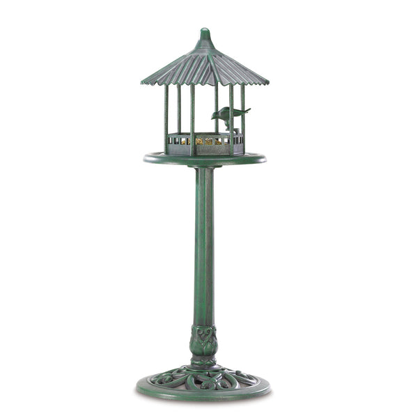 Weathered Copper Gazebo Bird Feeder Stand