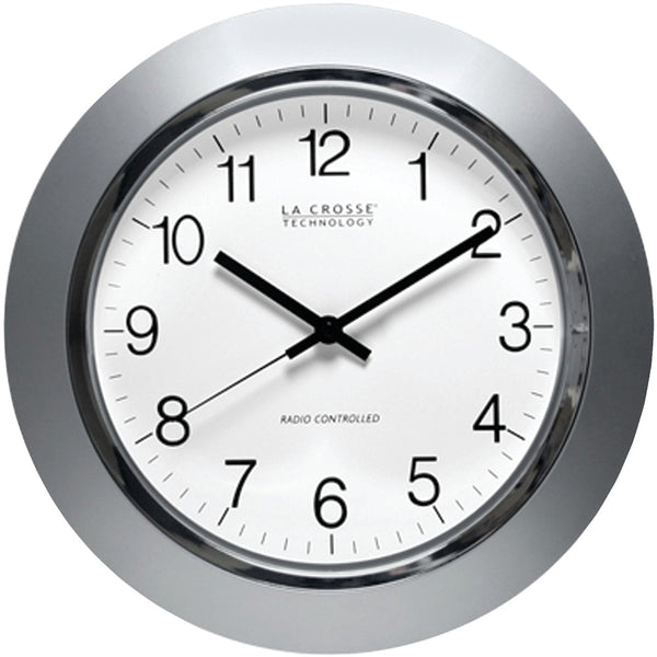 "La Crosse Technology 14"" Silver & Chrome Atomic Wall Clock"