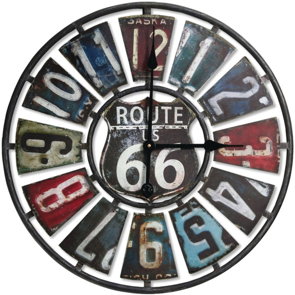 "Springfield 22"" Oversized Heirloom Clock (route 66 License Plate)"