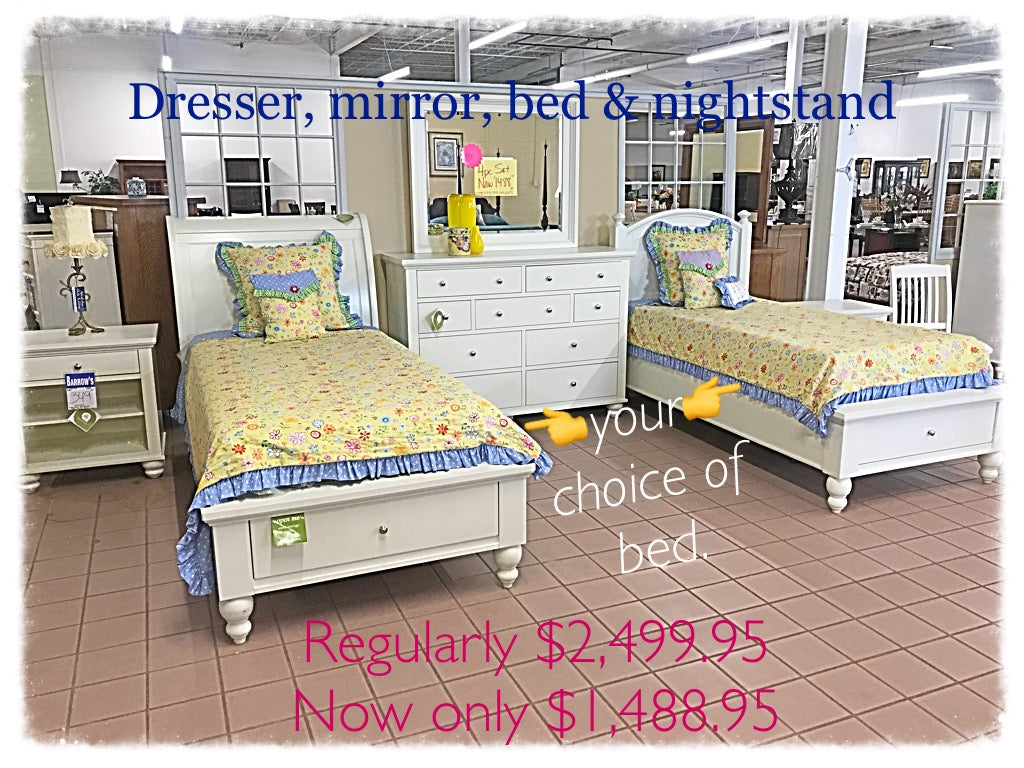 Dresser, Mirror, Nightstand, and Your Choice of Bed