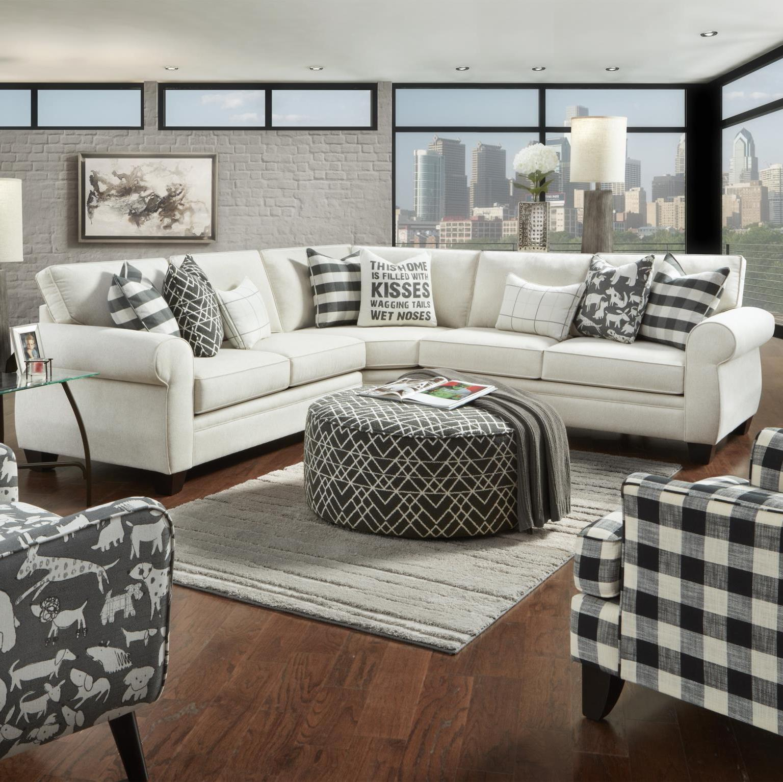 Popstitch Shell 3 Piece Sectional By Fusion Furniture Inc Barrow