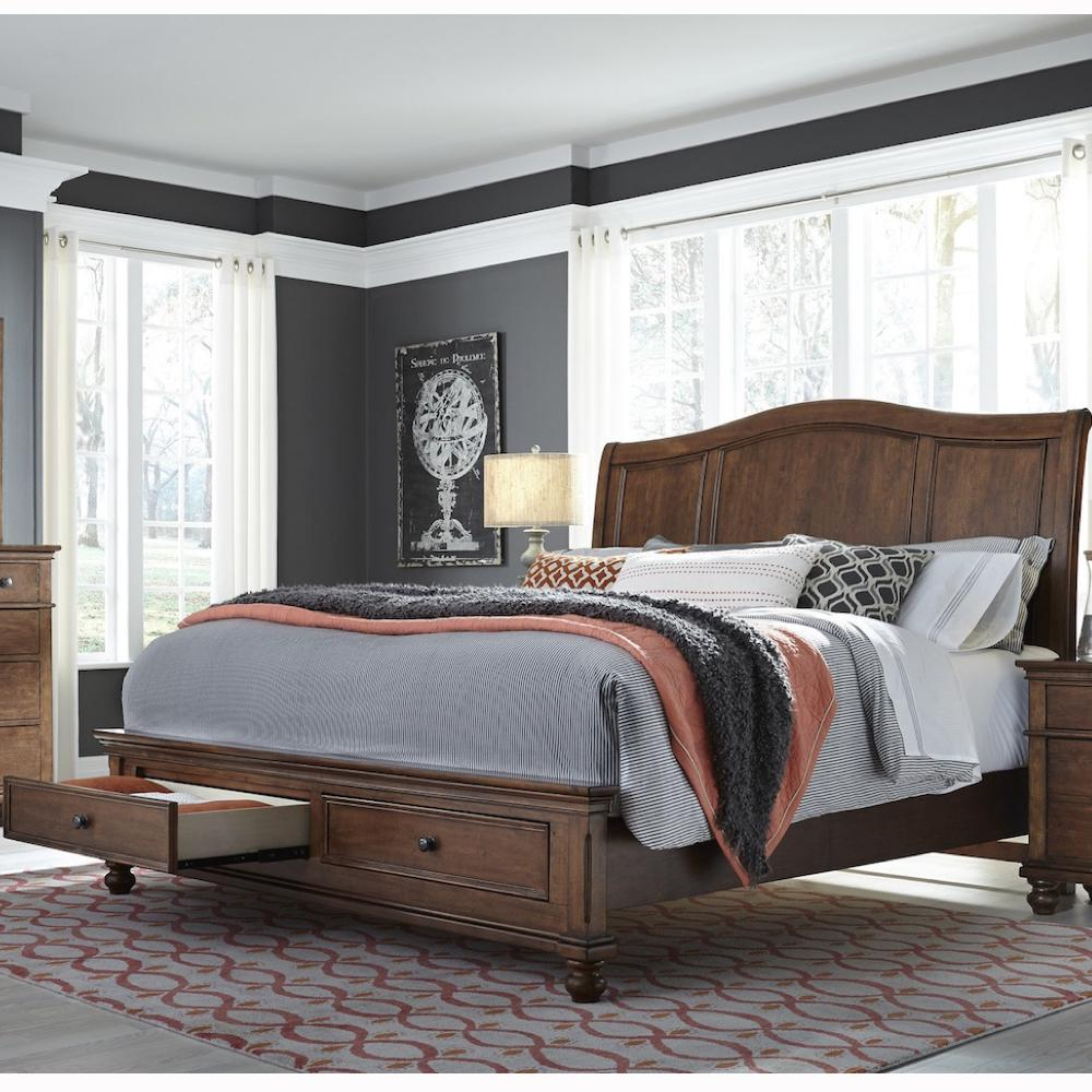 Oxford Whiskey Brown King Storage Bed by Aspenhome