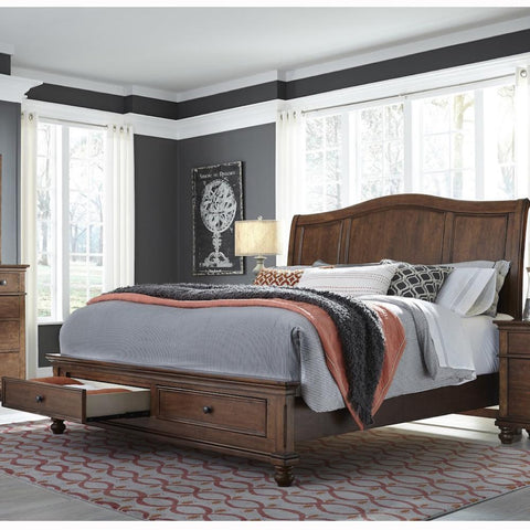 Oxford Whiskey Brown Queen Storage Bed by Aspenhome