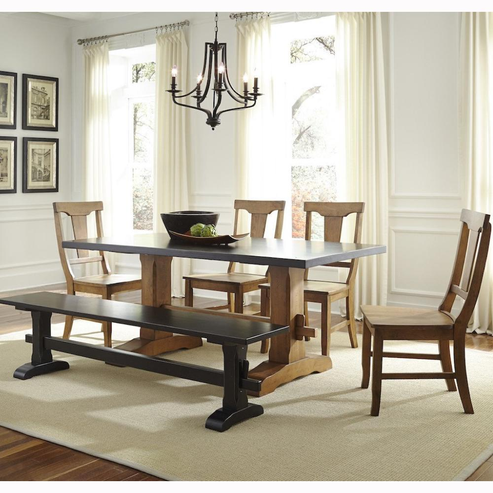 Select Trestle Table, Bench, and Chairs in Nickel Finish by John Thomas Furniture