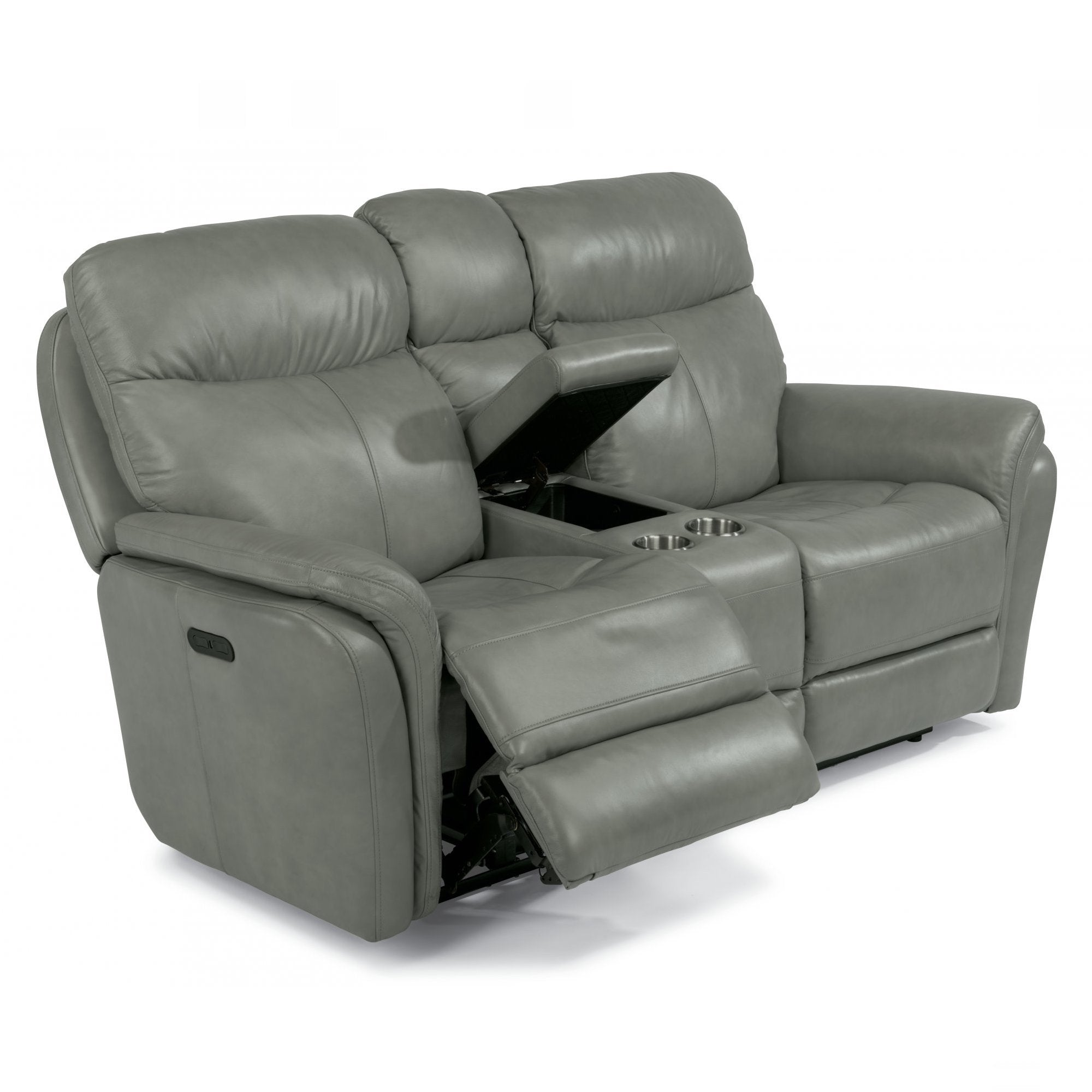 Zoey Leather Power Reclining Loveseat With Console By