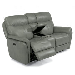 Zoey Leather Power Reclining Loveseat with Console by Flexsteel