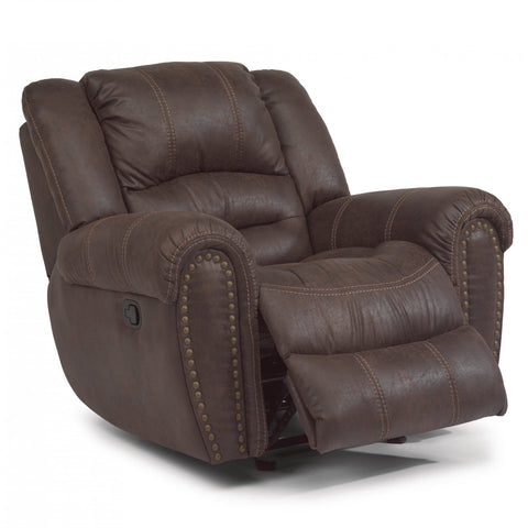 Latitudes Downtown Fabric Gliding Recliner by Flexsteel