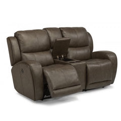 Chaz Power Reclining Loveseat with Console by Flexsteel