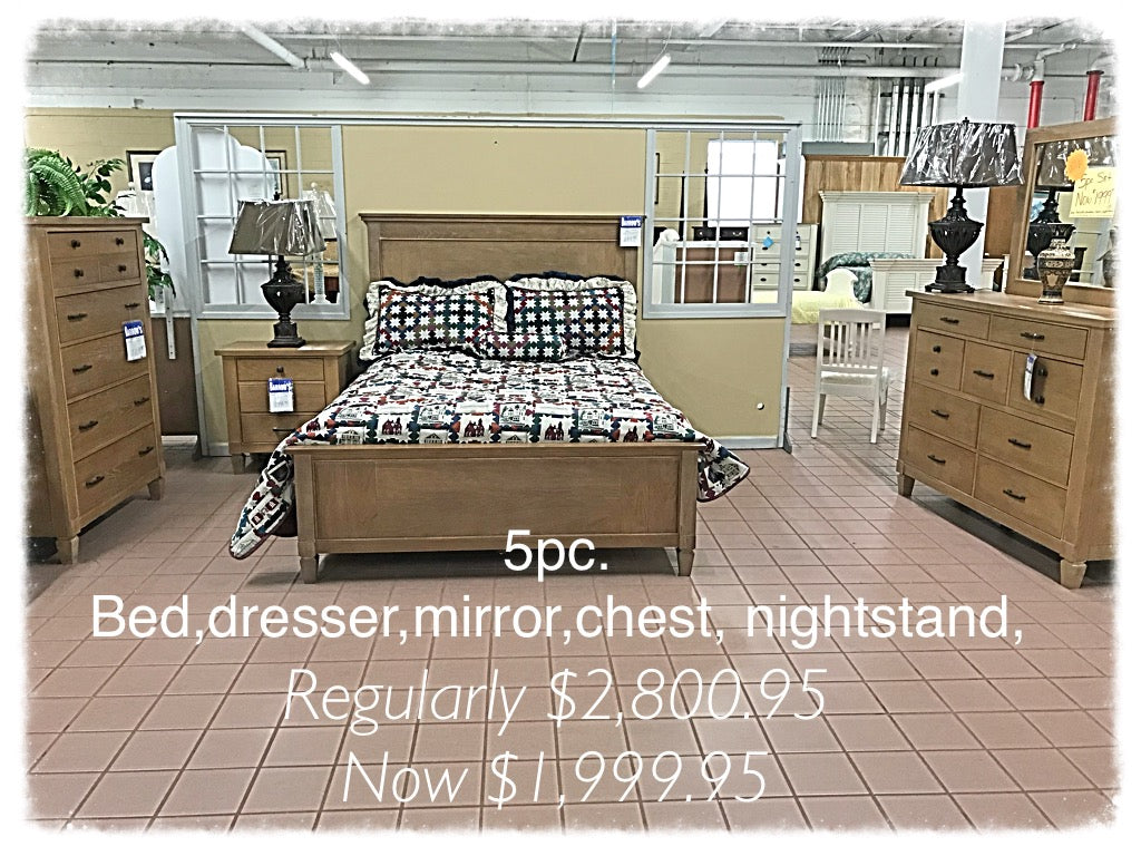 5 Piece Set - Bed, Dresser, Mirror, Chest, Nightstand