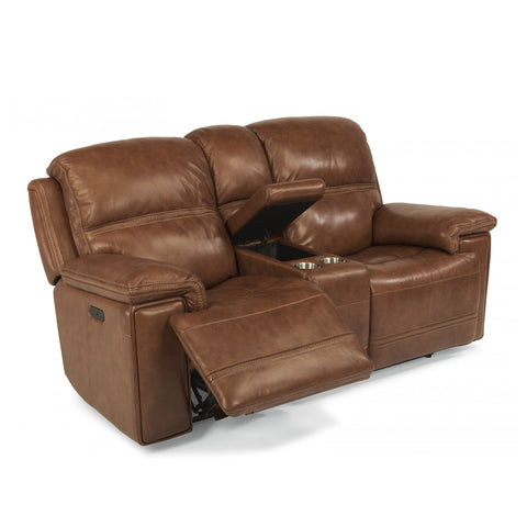 Fenwick Leather Power Reclining Loveseat with Console by Flexsteel