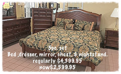 5 Piece Set - Bed, Dresser, Mirror, Chest, and Nightstand