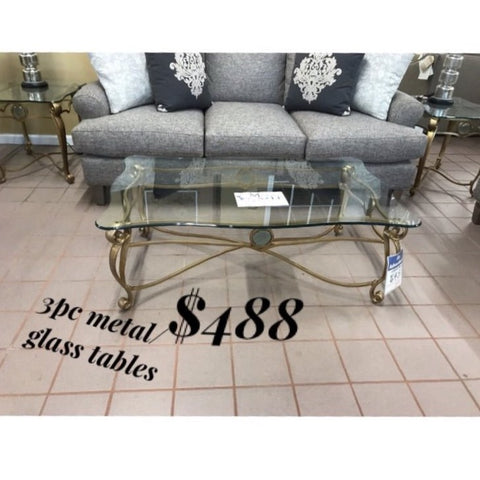 3 Piece Metal/Glass Table