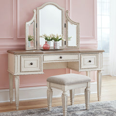 Realyn Youth Vanity and Mirror With Stool by Signature Design by Ashley