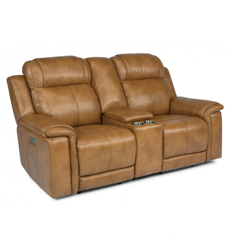 Kingsley Power Loveseat with Console & Power Headrests by Flexsteel