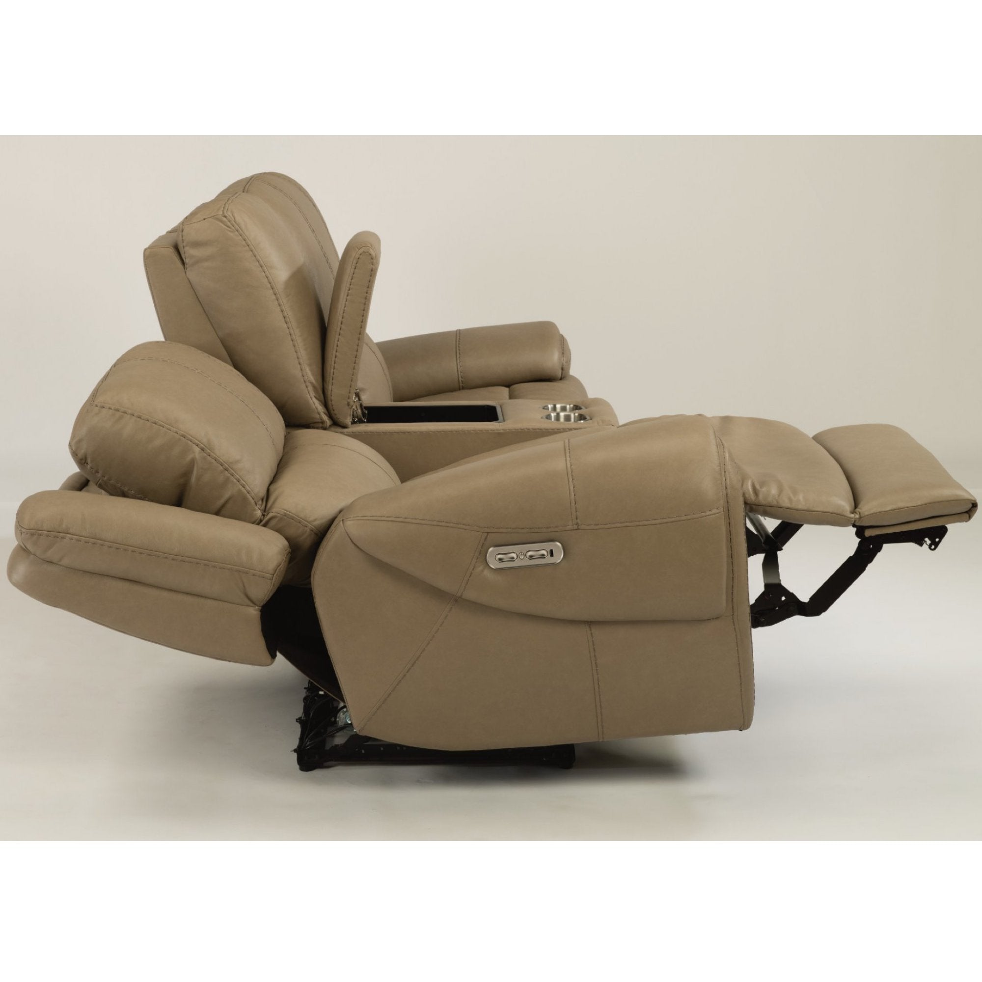Nance Leather Power Reclining Loveseat With Console By